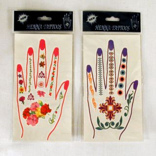 24 Cards Hand Nail Temporary Tattoos Pretty Henna Art