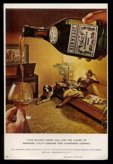 Saint St Bernard dog woman photo Hennessy VSOP cognac vintage print ad