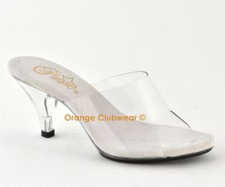 PLEASER Belle 301 3 Clear Womens Slides Heels Shoes
