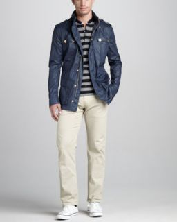 Versace Collection Four Pocket Field Jacket, Striped Short Sleeve