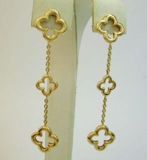 Heidi Klum 18K yellow gold clover dangling earrings by Mouawad