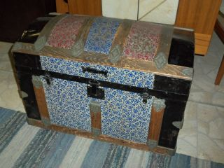Antique Dome Top Trunk Colored Tin Exterior Tray Inside