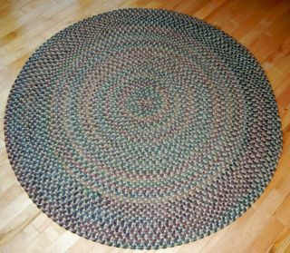 Vintage Wool Braided 48 Round Area Rug 4 ft Blue Gray Green Red Brown