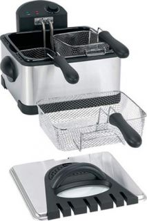 Dual Basket Electric Deep Fryer ~ Stainless Steel Portable Cooker w/ 3