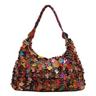 Multi Flower Colorful Design Shoulder Hobo Bag Handbag Purse