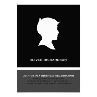 Modern Silhouette Boy Black Party Invitations