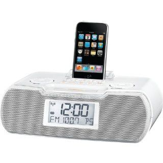 AM/FM ATOMIC CLOCK IPOD(R) DOCKING STATION (WHITE