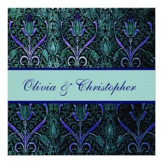 Blue Teal Purple Damask Wedding Template Custom Announcements