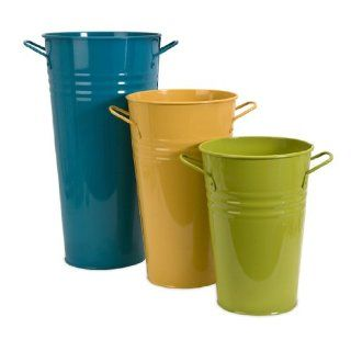Set of 3 Colorful Retro Flower Tall Bucket Vases with