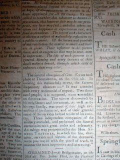 1806 Newspaper Henry Knox Dead Revolutionary War General 1st Secretary