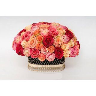 Silk Flower Arrangement, 2604 Pave Roses Sunset in Lg