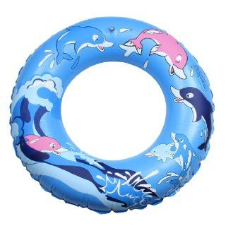 Como Cartoon Dolphin Pattern Inflatable Swimming Ring Blue