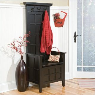 Home Styles Mini Hall Tree Storage Solid Wood Bench