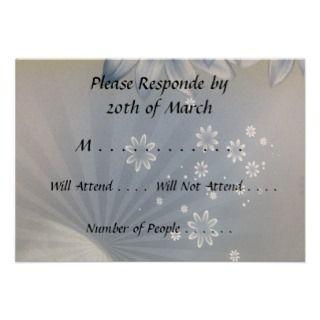 RSVP Card Blue White Flowers Custom Announcements