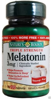 Natures Bounty 120 Melatonin 3mg Sleep Aid, Triple Strength Dietary