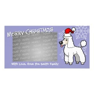 Christmas Poodle (white puppy cut) Photo Card Template