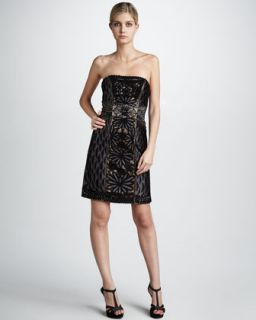 Sue Wong Strapless Floral Embroidered Dress