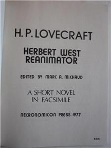 Herbert West Reanimator H P Lovecraft Facsimile Copy Necronomicon 1977