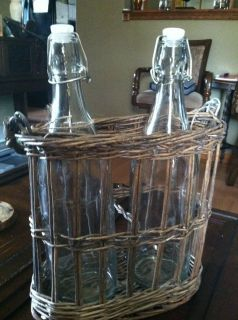 Set of Glass Bottles w Hinged Stoppers in Willow Handled Basket