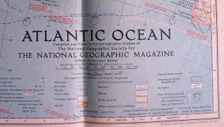 This is an original 1939 National Geographic Map of Atlantic Ocean.