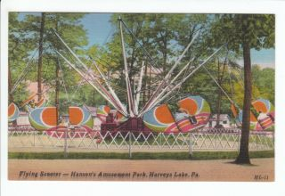 Ride Hansons Amusement Park Harveys Lake PA Postcard Swing Ride