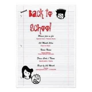 back to school School reunion fun party Custom Invite