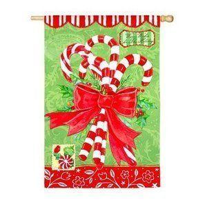 Holiday Candy Canes Decorative Christmas Garden Flag