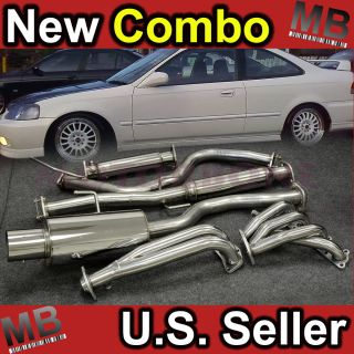 Honda Civic 96 00 Combo Kit Catback Exhaust Muffler System Header s
