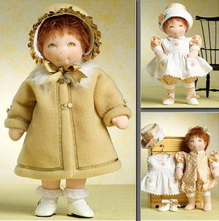 Doll Clothes Dress Coat Hat Booties Sewing Pattern Vogue 8277