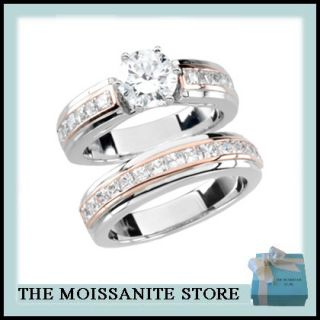 35ct Round Moissanite Princess Cut Diamond White Rose Gold