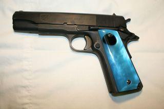 Custom Pistol Grips Full Size LIGHT BLUE PEARL BLACK by Herron Knives