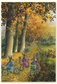 Susan Wheeler Holly Pond Hill Bunny Family Bicycle Thanksgiving