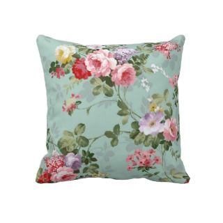Vintage Elegant Pink Red Roses Pattern Throw Pillows