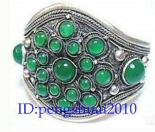 OLD Tibetan jewelry Tibet Silver inlay Green Jade mens Cuff Bracelet