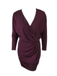 Haute Hippie womens ruched side long sleeve v neck dress $415 New