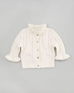 cable knit ruffle cardigan niveous ivory $ 98 exclusively ours