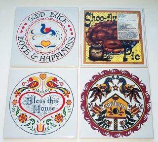 NEW AMISH Hex Sign Ceramic HOT PLATES Trivets SHOO FLY PIE Distelfink
