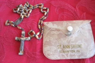 Vintage Lourdes France Holy Water Vial Catholic Rosary Beads 9
