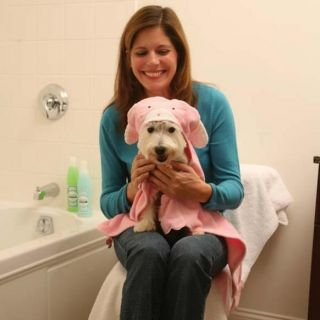 Hooded Bath Towels for Dogs   Pink Bunnies