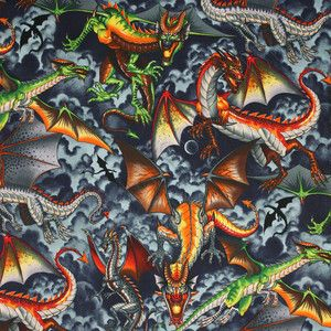 Alexander Henry Tale of the Dragon Brite Kids Novelty Cotton Quilt