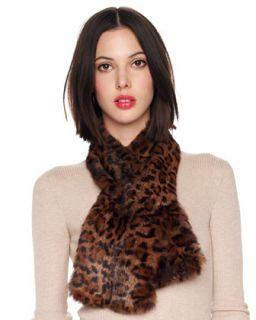 MICHAEL Michael Kors Leopard Print Rabbit Fur Scarf