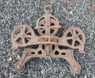 Old Vintage Hay Fork Trolley Carrier and Unloader Industrial Lamp