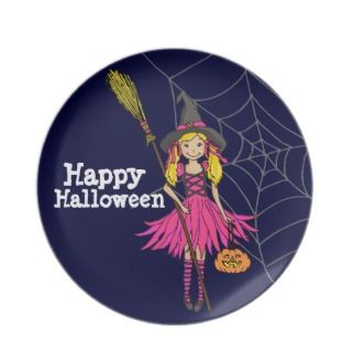 Happy Halloween party cute girl kids plate