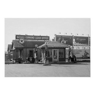 Nice vintage photo of old gas station with antique visible gas pumps