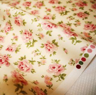 Floribunda Rose ♥ Black Pink Cotton Fabric ♥ FQ