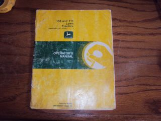 and 111 Lawn Tractor Operators Manual John Deere Horicon Works
