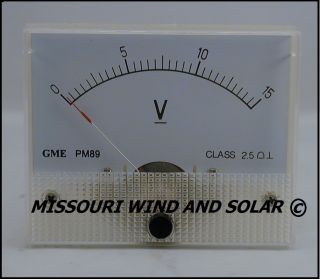 DC 15 Volt Analog Meter for Wind Turbine Generator Solar Panel PV PMA