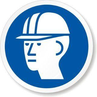 ISO M014   Wear Hard Hat Vinyl Labels, 1 x 1 Office
