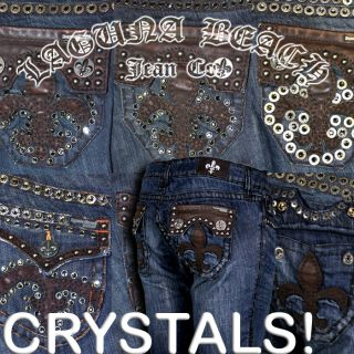 Laguna Beach Jeans 3rd Gen Stud Leather Indigo Crystals Hermosa Beach