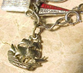 Vintage 7 1/4 Sterling Silver Charm Bracelet Loaded w/ 17 Mixed Theme